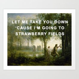 Orpheus Leading Eurydice to Strawberry Fields Art Print