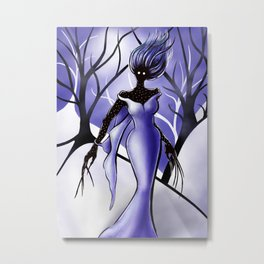 Creepy Woman In Snowy Night Forest Metal Print
