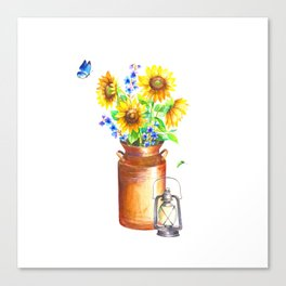 Country Sunflower Canvas Print