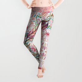 Lily, Leaf & Triangle Pattern – multi-color version Leggings
