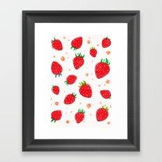 Draw strawberry Framed Art Print