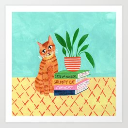 Cat, books and plants Art Print