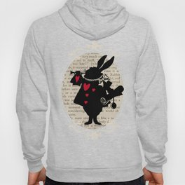 Alice In Wonderland White Rabbit Vintage Book Hoody