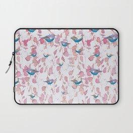 Bird surface pattern design - Light pastel pink (Screen printed) Laptop Sleeve
