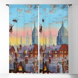 Mary Poppins flying above the rooftops of London Blackout Curtain