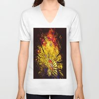 oriental V-neck T-shirts featuring Oriental Ambience by Art-Motiva