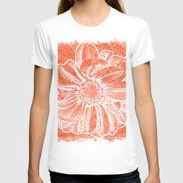 White Flower On Pumpkin Orange Crayon T-shirt