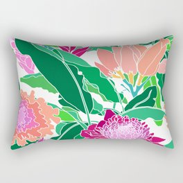 Bird of Paradise + Ginger Tropical Floral in White Rectangular Pillow
