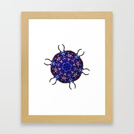 Blue Cell Mandala Framed Art Print