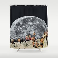 rug Shower Curtains featuring MOONRISE  by Beth Hoeckel