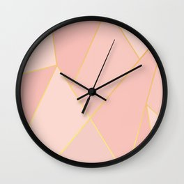 Elegant Pink Rose Gold Geometric Abstract Wall Clock