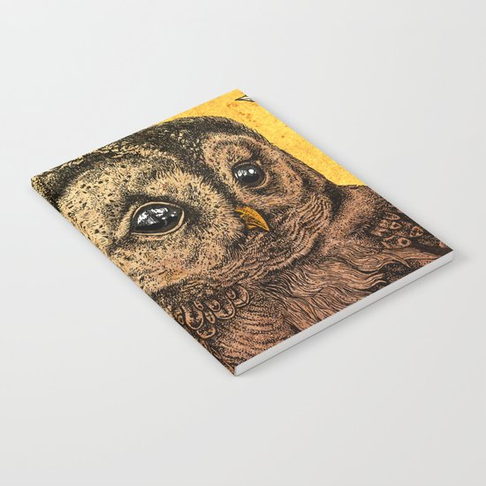 Tawny Owl Yellow Notebook