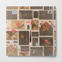 Snail Mail Pattern Metal Print