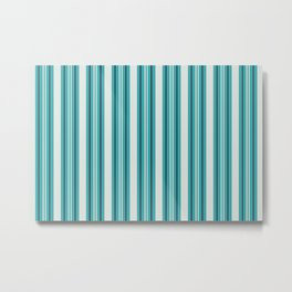 Off White, Aqua, Alabaster and Navy Blue Stripes Thick and Thin Vertical Lines Pattern 2 - Aquarium SW 6767 Metal Print