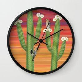 gila woodpeckers on saguaro cactus Wall Clock