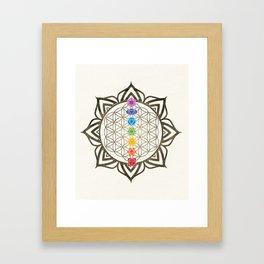 Flower of Life Chakra Healing Mandala Framed Art Print