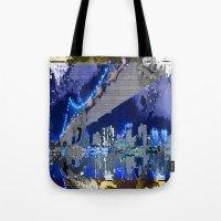 brooklyn bridge Tote Bags featuring Brooklyn Bridge by Robin Curtiss