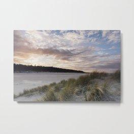 Sunset and beach huts. Wells-next-the-sea, Norfolk, UK. Metal Print
