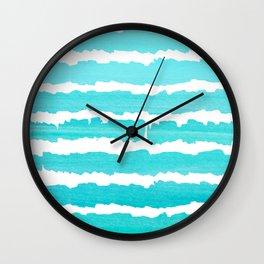 Maritime pattern- Simply aqua handpainted stripes on clear white- horizontal Wall Clock