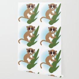 lemur on green branch on white background Wallpaper