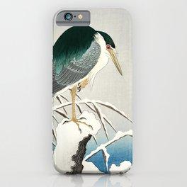 Heron in snow - Japanese vintage woodblock print art iPhone Case