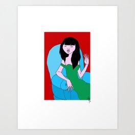 Teresa On Red Art Print