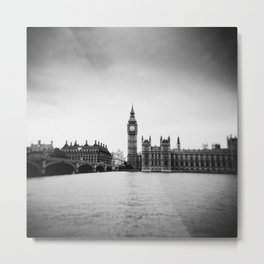 Big Ben in London - Holga Black and white Metal Print
