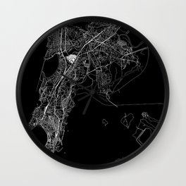 Mumbai Black Map Wall Clock