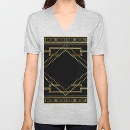art deco gatsby black and gold lines geometric pattern Unisex V-Neck