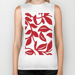 LEAF PALM VINE IN RED AND WHITE PATTERN Biker Tank