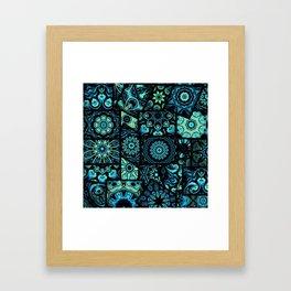 Patchwork in Blues Framed Art Print