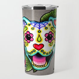 Smiling Pit Bull in White - Day of the Dead Pitbull Sugar Skull Travel Mug