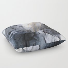 Calm but Dramatic Light Monochromatic Black & Grey Abstract Floor Pillow