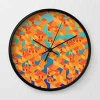 escher Wall Clocks featuring Escher cube by Tony Vazquez