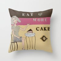 cake Throw Pillows featuring Cake by Patty Haberman