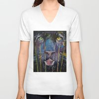 panther V-neck T-shirts featuring Panther by Michael Creese