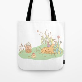 Napping Deer Tote Bag
