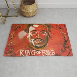 king of r&b,jacquees,music,album cover,lyrics,poster,wall art,decor,rnb,soul,portait,fan,painting Rug