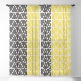 Yellow and black geometric two tone Sheer Curtain