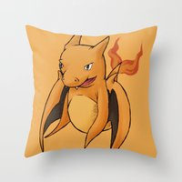 charizard Throw Pillows featuring Charizard Whale by CoolBreezDesigns