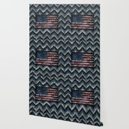 Blue Military Digital Camo Pattern with American Flag Wallpaper