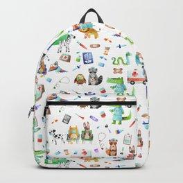 Cute Animal Hospital Watercolor Doctor Pattern Backpack