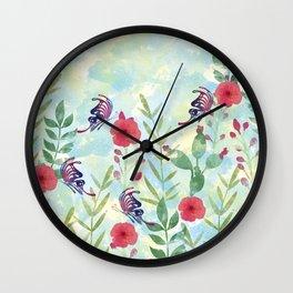 Watercolor floral garden Wall Clock