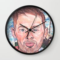 radiohead Wall Clocks featuring Thom Yorke Radiohead Hail to The Theif by Bill Gallagher Art