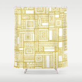 Golden Doodle patchwork Shower Curtain