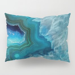 Teal Druzy Agate Quartz Pillow Sham