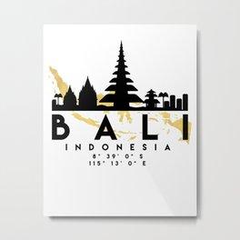 BALI INDONESIA SILHOUETTE SKYLINE MAP ART Metal Print