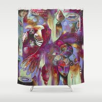 "flora bowley Shower Curtains featuring ""Manifest"" Original Painting by Flora Bowley by Flora Bowley"
