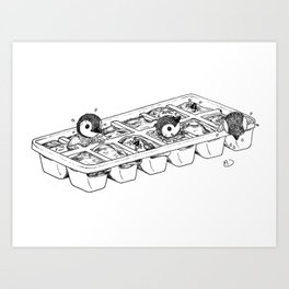 Penguins hatching from an ice cube tray Art Print