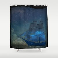 ships Shower Curtains featuring Ships and Stars by AmandaRoyale